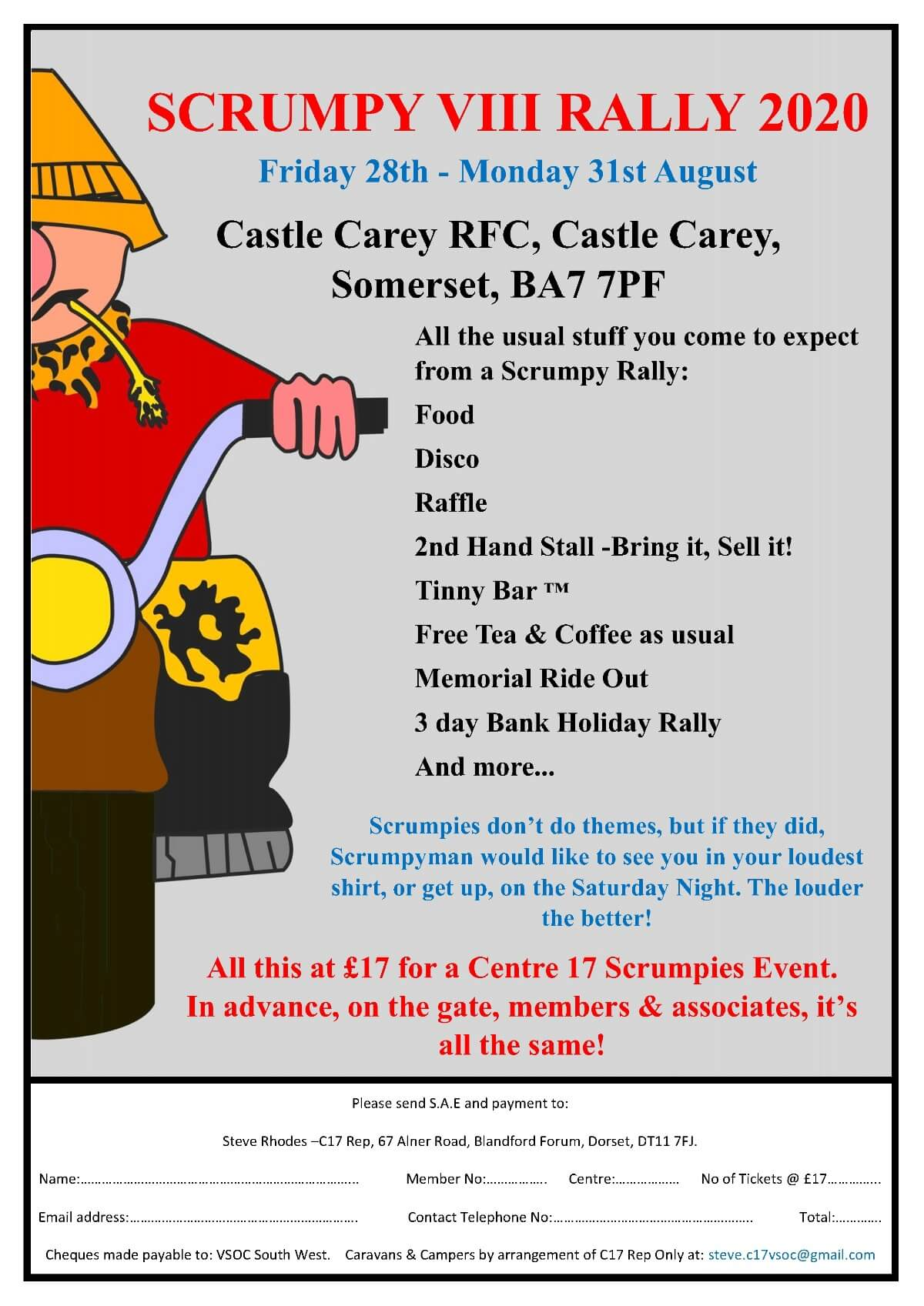 CANCELLED VSOC CENTRE 17 (SCRUMPIES) RALLY @ Castle Cary Rugby Football Club